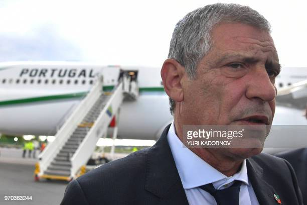 Portugal's coach Fernando Santos speaks with the media after disembarking from a plane at the Zhukovsky airport, about 40 kilometres southeast of...