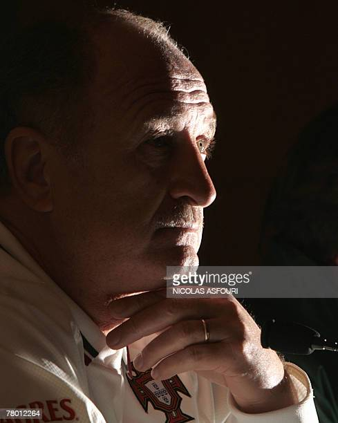 Portugal's coach Luiz Felipe Scolari gives a press conference ahead of his team's EURO 2008 qualifying football match against Finland at the Dragao...