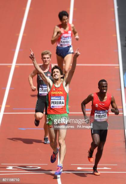 Portugal's Cristiano Pereira celebrates winning the Mens 5000m T20 Final during day ten of the 2017 World Para Athletics Championships at London...