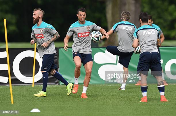 Portugal's Cristiano Ronaldo during training June 8 2014 in Florham Park New Jersey The team will be training at the New York Jets training facility...