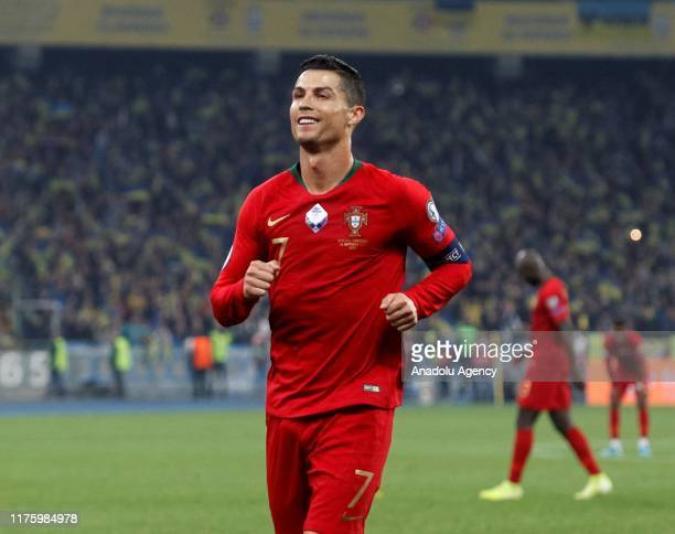 Portugal's Cristiano Ronaldo is seen during the UEFA EURO 2020 qualifier Group B soccer match between Ukraine and Portugal in Kiev Ukraine on October...