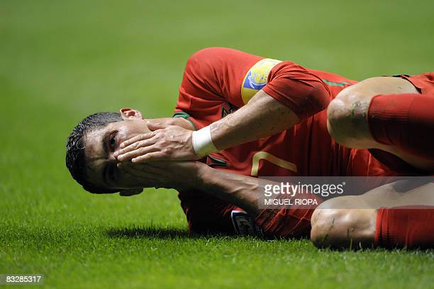 Portugal's Cristiano Ronaldo reacts during the qualifying football match for the World Cup 2010 against Albania at the municipal stadium in Braga...