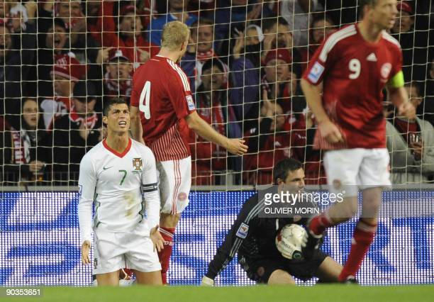 Portugal's Cristiano Ronaldo reacts during the World Cup 2010 qualifying match Denmark vs Portugal onSeptember 5 2009 at the Parken Stadium in...
