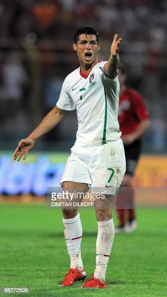 Portugal's Cristiano Ronaldo reacts during World Cup qualifing football match against Albania at the Qemal Stafa stadium in Tirana on June 6 2009 AFP...