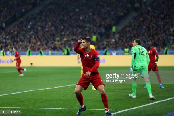 Portugal's Cristiano Ronaldo seen in action during the UEFA EURO 2020 qualifier Group B soccer match between Ukraine and Portugal in Kiev