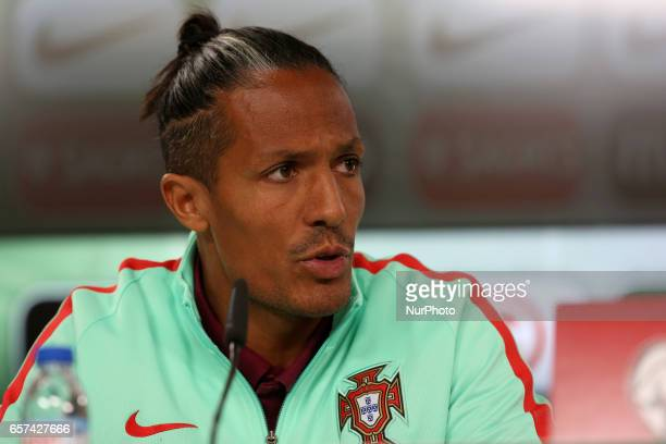 Portugals defender Bruno Alves attends a press conference at the Luz stadium in Lisbon Portugal on March 24 on the eve of the FIFA World Cup Russia...