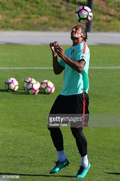 Portugal's defender Bruno Alves in action during Portugal's National Team Training session before the 2018 FIFA World Cup Qualifiers matches against...