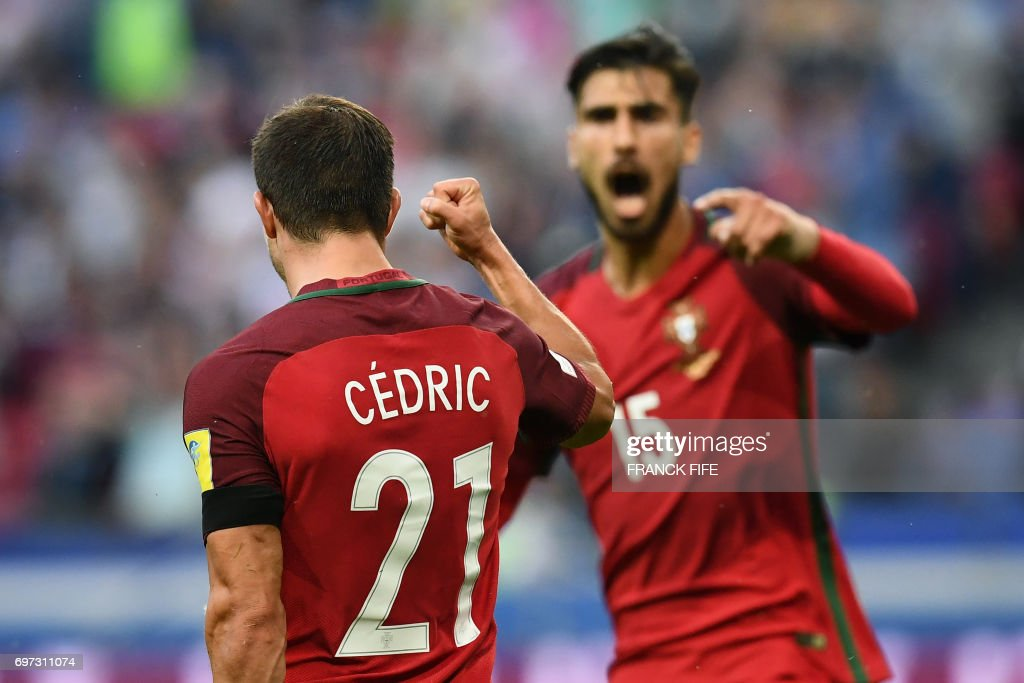 TOPSHOT - Portugal's defender Cedric celebrates after scoring a goal during the 2017 Confederations Cup group A football match between Portugal and Mexico at the Kazan Arena in Kazan on June 18, 2017. /