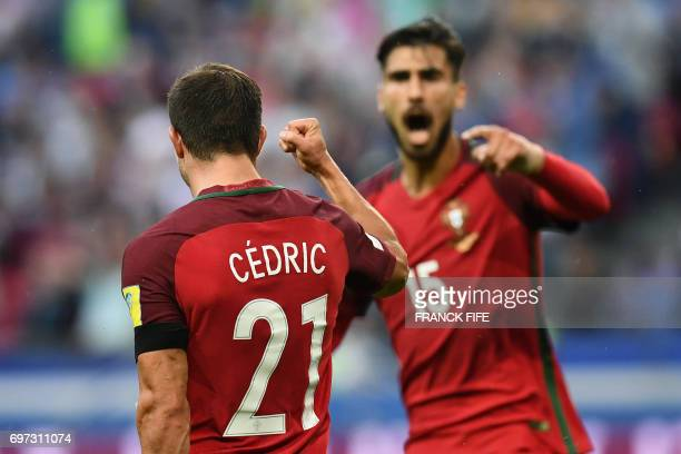 TOPSHOT Portugal's defender Cedric celebrates after scoring a goal during the 2017 Confederations Cup group A football match between Portugal and...