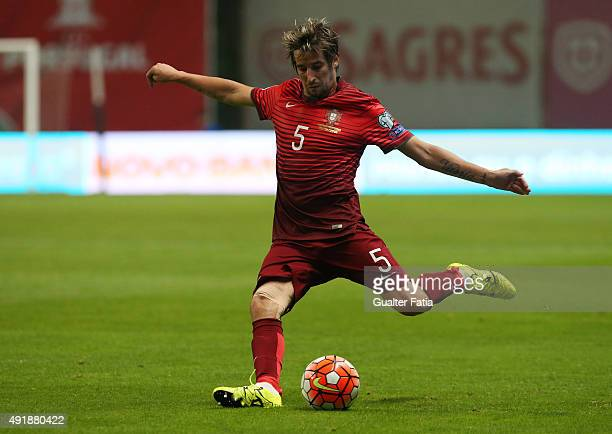 Portugal's defender Fabio Coentrao in action during the UEFA EURO 2016 Qualifier match between Portugal and Denmark at Estadio Municipal de Braga on...