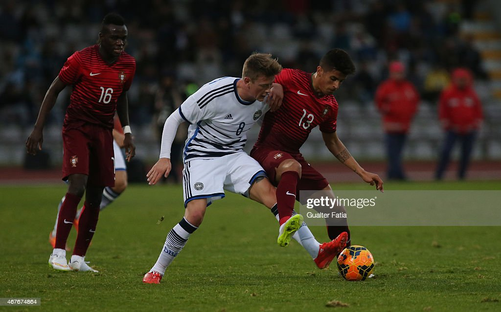 Portugal's defender Joao Cancelo with Denmark's midfielder Nicolaj Thomsen during the U21 International Friendly between Portugal and Denmark on March 26, 2015 in Marinha Grande, Portugal.