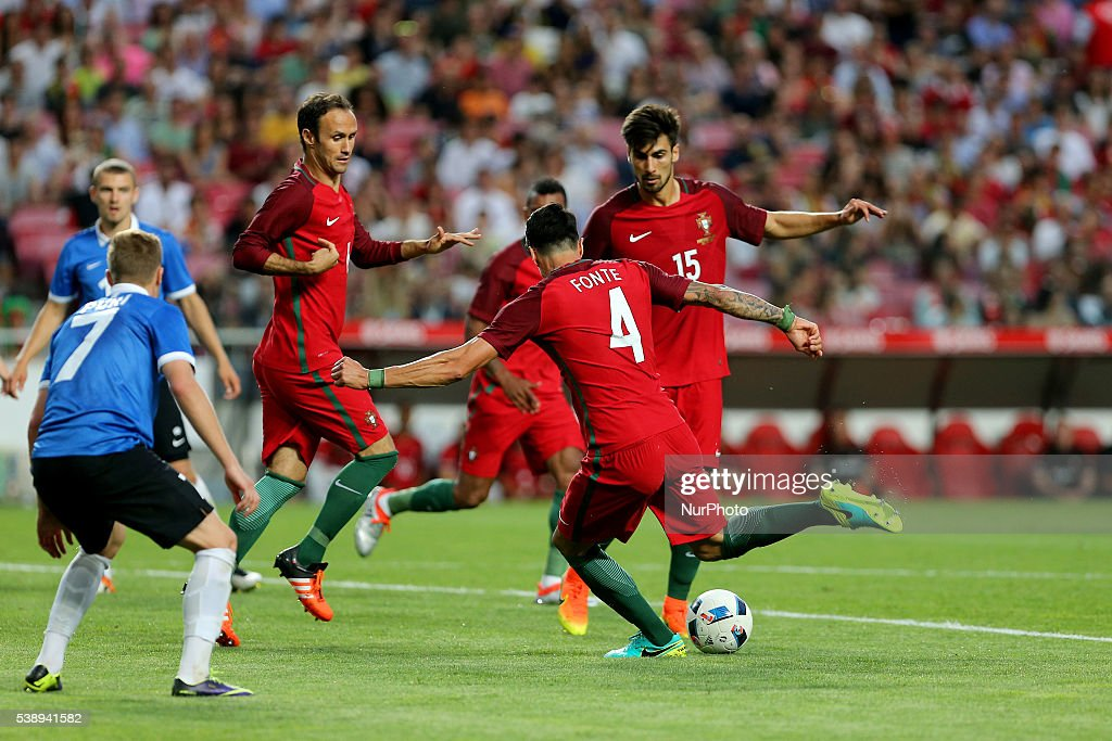 Portugals defender Jose Fonte scores goal during international friendly match between Portugal and Estonia in preparation for the Euro 2016 at Estadio da Luz on June 8, 2016 in Lisbon, Portugal.