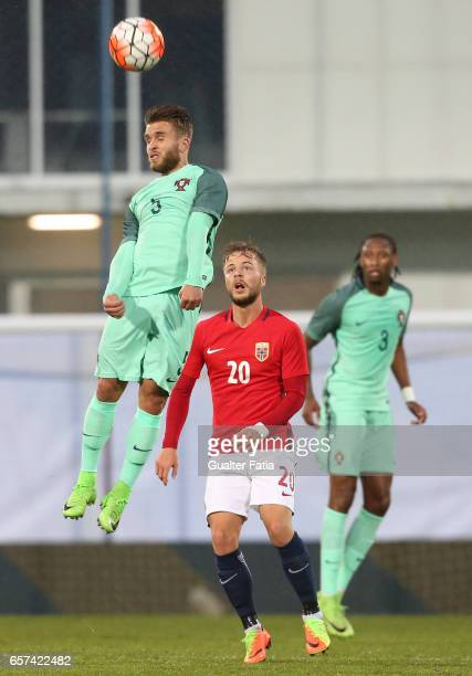 Portugal's defender Kevin Rodrigues with Sander Svendsen of Norway in action during the U21 International Friendly match between Portugal and Norway...