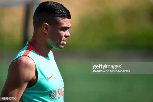 Portugal's defender Pepe arrives for a training session at Cidade do Futebol training camp in Oeiras outskirts of Lisbon on June 14 2017 ahead of the...
