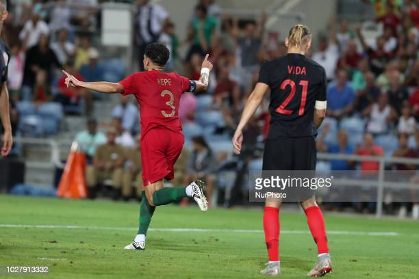 Portugal's defender Pepe celebrates after scoring a goal during the friendly football match Portugal vs Croatia at the Algarve stadium in Algarve...