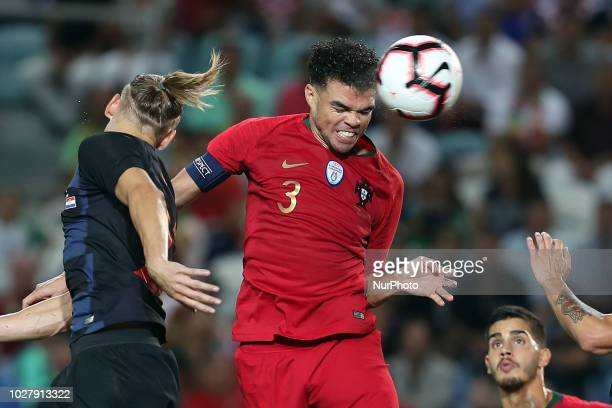 Portugal's defender Pepe heads to score during the friendly football match Portugal vs Croatia at the Algarve stadium in Algarve Portugal on...