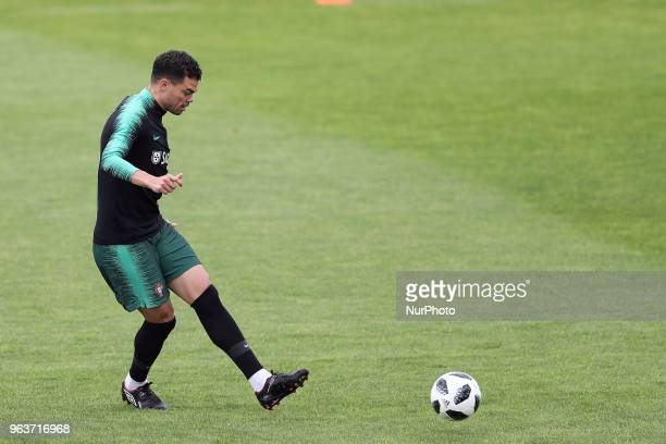 Portugal's defender Pepe in action during a training session at Cidade do Futebol training camp in Oeiras outskirts of Lisbon on May 30 ahead of the...