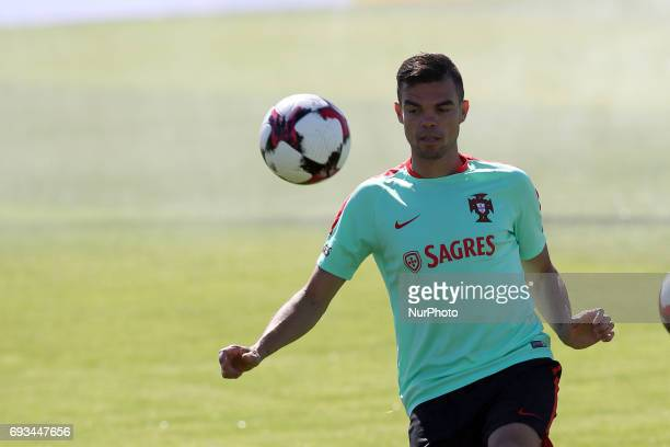 Portugal's defender Pepe looks on during a training session at quotCidade do Futebolquot training camp in Oeiras outskirts of Lisbon on June 7 ahead...