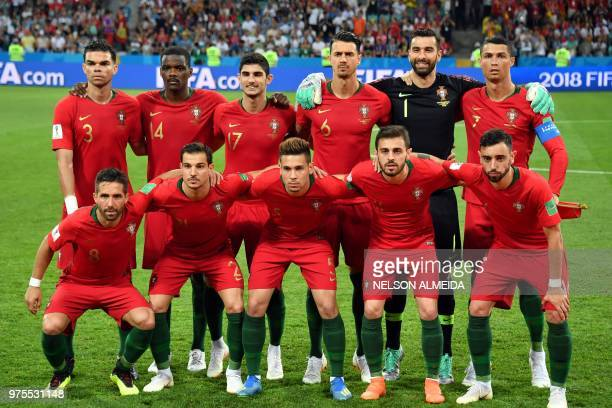 Portugal's defender Pepe Portugal's midfielder William Carvalho Portugal's forward Goncalo Guedes Portugal's defender Jose Fonte Portugal's...