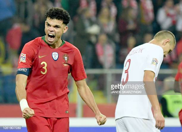 TOPSHOT Portugal's defender Pepe react at the end of the UEFA Nations League football match Poland v Portugal at the Slaski Stadium in Chorzow Poland...