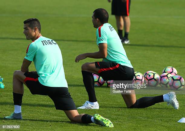 Portugal's defender Pepe with Portugal's forward Cristiano Ronaldo during Portugal's National Team Training session before the 2018 FIFA World Cup...