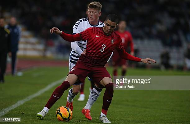 Portugal's defender Tiago Ilori with Denmark's midfielder Nicolaj Thomsen during the U21 International Friendly between Portugal and Denmark on March...