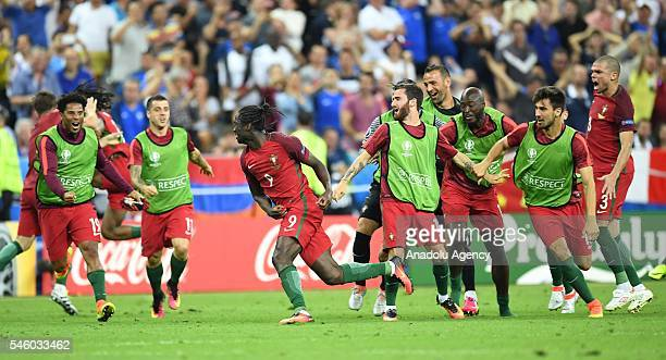 Portugal's Eder celebrates after scoring a goal during the Euro 2016 final football match between Portugal and France at the Stade de France in...