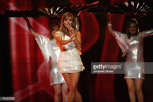 Portugal's entry to the Eurovision Song Contest 2007 Sabrina performs on stage during the semi final of the Eurovision Song Contest on May 10 in...
