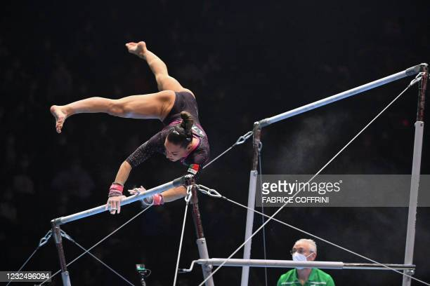 Portugal's Filipa Martins looses her balance as she competes in the Women's uneven bars apparatus final of the 2021 European Artistic Gymnastics...