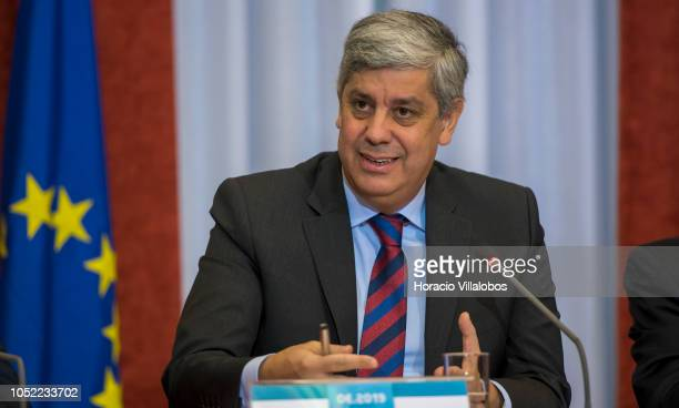 Portugal's Finance Minister Mario Centeno answers questions from the journalists during a press conference to present the State Budget for 2019 on...