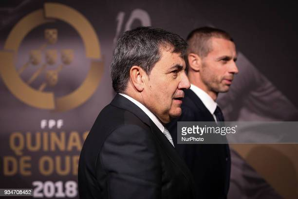 Portugal's football federation President Fernando Gomes accompanied by UEFAs President Aleksander Ceferin poses on arrival at quotQuinas de Ouroquot...