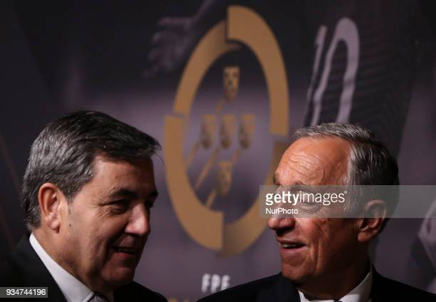 Portugal's football federation President Fernando Gomes accompanied by Portuguese President Marcelo Rebelo de Sousa pose on arrival at 'Quinas de...