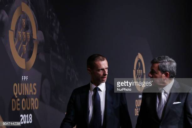 Portugal's football federation President Fernando Gomes accompanied by UEFAs President Aleksander Ceferin pose at 'Quinas de Ouro' ceremony held at...