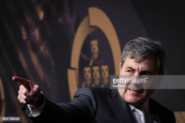 Portugal's football federation President Fernando Gomes poses on arrival at quotQuinas de Ouroquot ceremony held at Pavilhao Carlos Lopes in Lisbon...