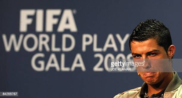 Portugal's football player Cristiano Ronaldo reacts during a press conference prior to the FIFA's World Football Player Gala 2008 award ceremony on...