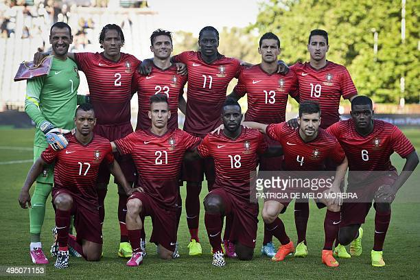 Portugal's football players goalkeeper Eduardo defender Bruno Alves forward Helder Postiga forward Eder defender Ricardo Costa defender Andre Almeida...