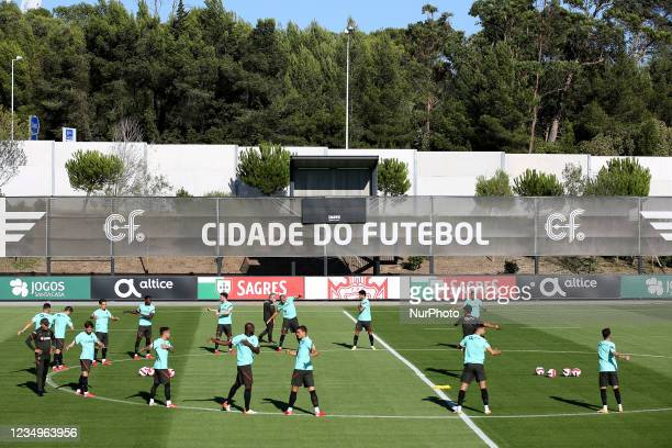 Portugal's football team in action during a training session at Cidade do Futebol training camp in Oeiras, Portugal, on August 30 as part of the...