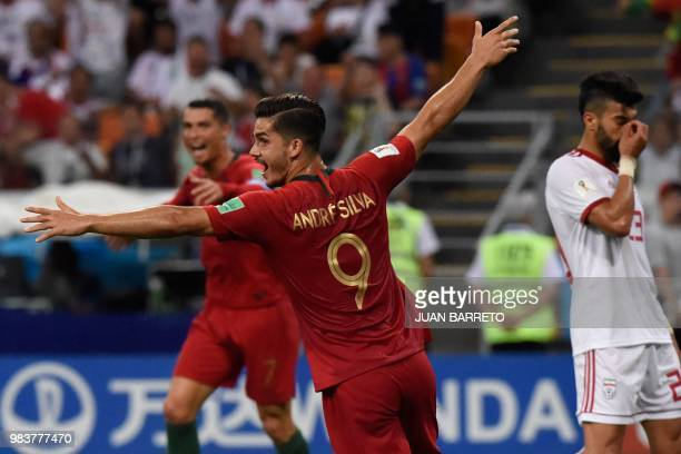 TOPSHOT Portugal's forward Andre Silva celebrates after his team scored during the Russia 2018 World Cup Group B football match between Iran and...