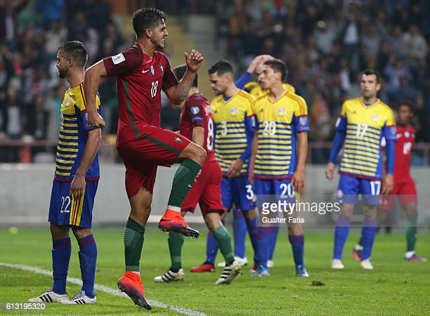 Portugal's forward Andre Silva celebrates after scoring a goal during the FIFA 2018 World Cup Qualifier match between Portugal and Andorra at Estadio...