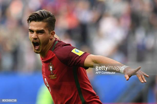 TOPSHOT Portugal's forward Andre Silva celebrates after scoring a goal during the 2017 Confederations Cup group A football match between New Zealand...