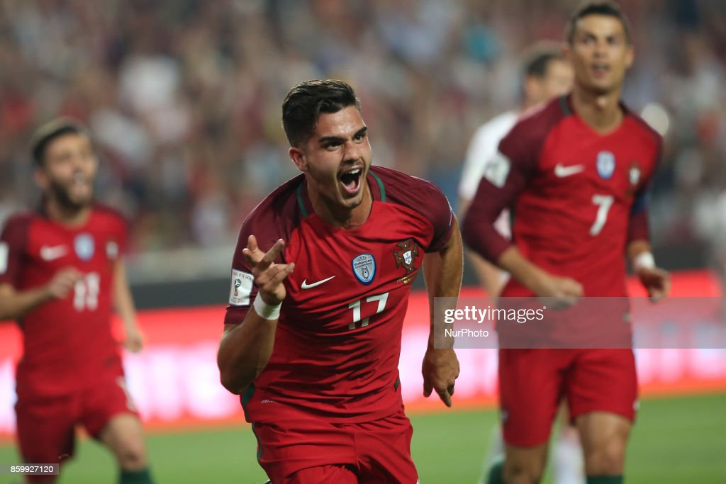 Portugal's forward Andre Silva celebrates after scoring a goal during the 2018 FIFA World Cup qualifying football match between Portugal and Switzerland at the Luz stadium in Lisbon, Portugal on October 10, 2017. Photo: Pedro Fiuza