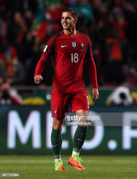 Portugal's forward Andre Silva celebrates scoring Portugal first goal during the match between Portugal and Hungary for FIFA 2018 World Cup Qualifier...