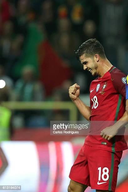 Portugal's forward Andre Silva celebrates scoring Portugal sixth goal during Portugal v Andorra FIFA 2018 World Cup Qualifier at Estadio Municipal de...