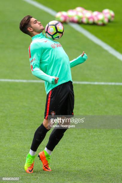 Portugal's forward Andre Silva during Portugal Training Session and Press Conference the at Cidade do Futebol on March 23 2017 in Lisbon Portugal