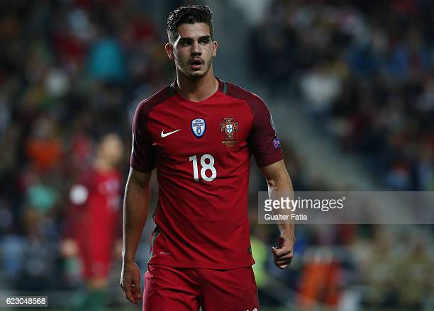 Portugal's forward Andre Silva during the FIFA 2018 World Cup Qualifier match between Portugal and Latvia at Estadio Algarve on November 13 2016 in...