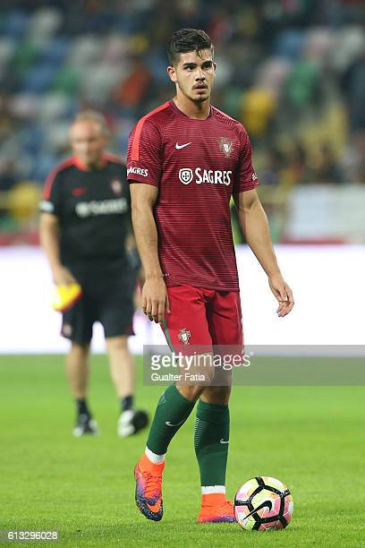 Portugal's forward Andre Silva during warm up before the start of the FIFA 2018 World Cup Qualifier match between Portugal and Andorra at Estadio...