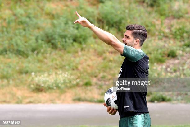 Portugal's forward Andre Silva in action during a training session at Cidade do Futebol training camp in Oeiras outskirts of Lisbon on May 30 ahead...