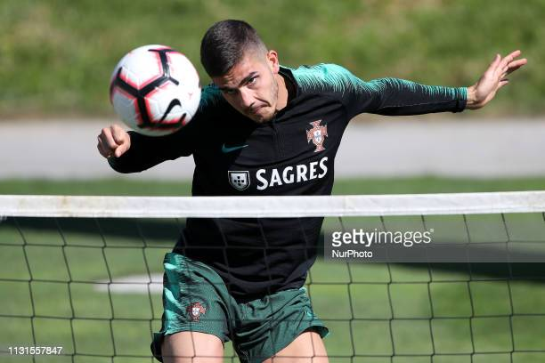Portugal's forward Andre Silva in action during a training session ahead of the UEFA EURO 2020 qualifying matches against Ukraine and Serbia at...