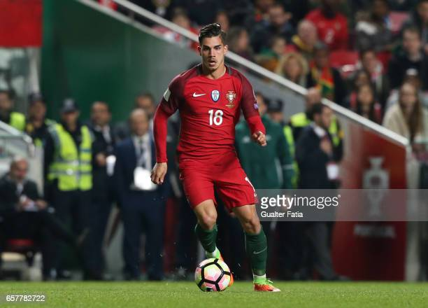 Portugal's forward Andre Silva in action during the FIFA 2018 World Cup Qualifier match between Portugal and Hungary at Estadio da Luz on March 25...