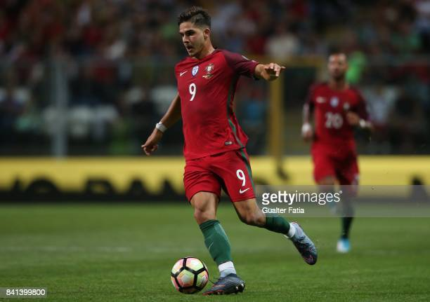 Portugal's forward Andre Silva in action during the FIFA 2018 World Cup Qualifier match between Portugal and Faroe Islands at Estadio do Bessa on...